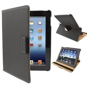 360 graden draaiend lederen hoesje met houder voor New iPad (iPad 3) / iPad 4, Dark Grijs