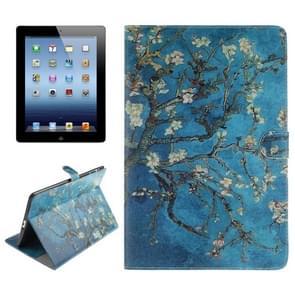 Plum patroon lederen draagtas met houder & Card Slots & portemonnee voor iPad 4 / nieuwe iPad (iPad 3) / iPad 2