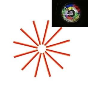 OQSPORT 12 stuks fietswiel sprak Reflector reflecterende Mount Clip Tube waarschuwing licht Strip(Orange)