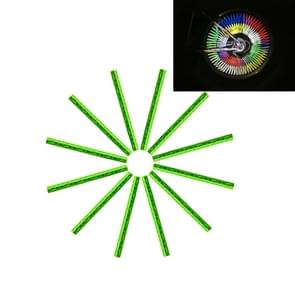 OQSPORT 12 PCS Bicycle Wheel Spoke Reflector Reflective Mount Clip Tube Warning Light Strip(Green)