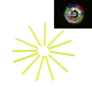 OQSPORT 12 stuks fietswiel sprak Reflector reflecterende Mount Clip Tube waarschuwing licht Strip(Yellow)