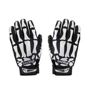 Qepae Skull Pattern Cycling Bicycle Outdoor Sports Gloves  Size: M  F7507(Black)