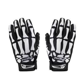 Qepae Skull Pattern Cycling Bicycle Outdoor Sports Gloves  Size: XL  F7507(Black)