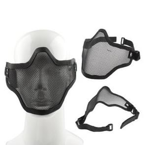 Half Face Net Mesh Style Protection Mask with Elastic Strap & Velcro (Black)
