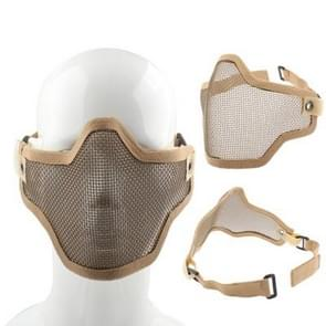 Half Face Net Mesh Style Protection Mask with Elastic Strap & Velcro (Brown)