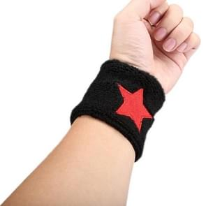 Star Pattern Elastic Breathable Absorbent Fabric Sports Protector Wrist Band(Black)