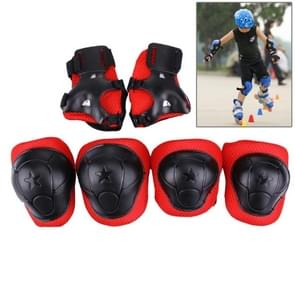 6 in 1 Roller Skate Knee & Elbow & Wrist Pads Protective Gear Sets(Black)