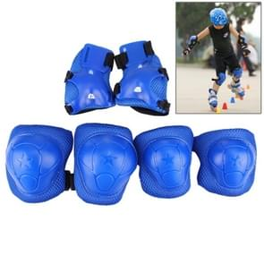 6 in 1 Roller Skate Knee & Elbow & Wrist Pads Protective Gear Sets(Dark Blue)