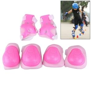 6 in 1 Roller Skate Knee & Elbow & Wrist Pads Protective Gear Sets(Pink)