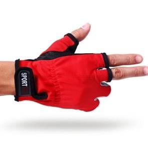 1 paar 3 vingers blootgesteld ademend anti-gladde visserij Gloves(Red)