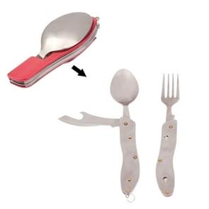 4-in-1 Stainless Steel Travel / Camping Folding Cutlery Set  Spoon + Fork + Knife +  Bottle Opener Set(Red)