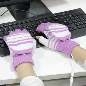 Outdoor Sport Electric Heated Half-Finger & Full-Finger Knitted Gloves for Women(Purple)