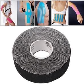 Waterdichte Kinesiologie Tape sport spieren zorg therapeutische Bandage  grootte: 5m(L) x 2.5cm(W)(Black)