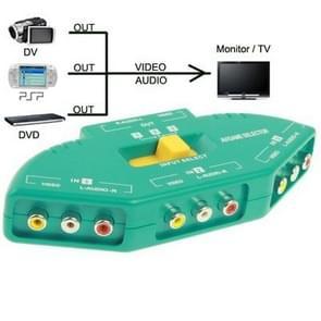 AV Audio-Video Signal Switcher, 3 Groups Input en 1 Group Output (groen)