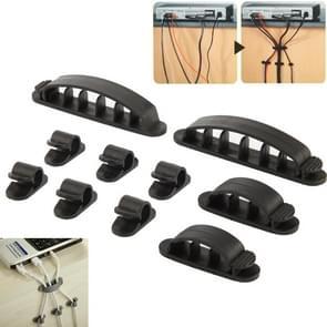 10-in-1 kunststof flexibele Kabel organisator voor Draadboom  CC-926  willekeurige Kleur Delivery(zwart)