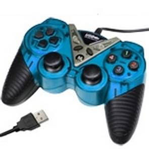 USB-12 knop dubbele Shock Game Pad, Plug en Play, (Baby blauw)