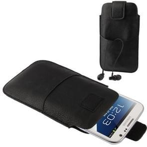 Universele Case Pocket mouw leerzak met oortelefoon zak voor Galaxy Note II / N7100 / i9220 (zwart)