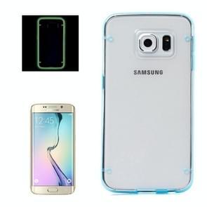 Samsung Galaxy S6 Edge / G925 Lichtgevend TPU + kunststof back cover Hoesje (blauw)
