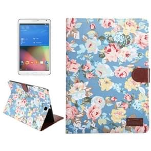Samsung Galaxy Tab S2 9.7 / T815 horizontaal Bloemen patroon Kleding structuur PU leren Flip Hoesje met houder en opbergruimte voor pinpassen & geld (blauw)