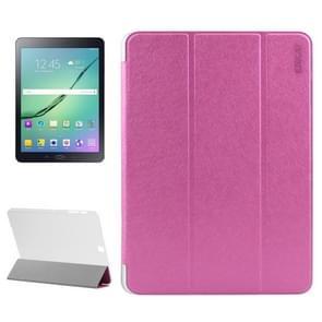 Samsung Galaxy Tab S2 9.7 / T815 horizontaal Zijde structuur PU leren ENKAY Flip Hoesje met drievouws houder en doorschijnend back cover (hard roze)