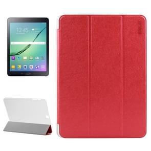 Samsung Galaxy Tab S2 9.7 / T815 horizontaal Zijde structuur PU leren ENKAY Flip Hoesje met drievouws houder en doorschijnend back cover (rood)
