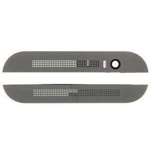 Voorzijde van de bovenste Top + lagere onder glas lenscover & lijm voor HTC One M8(Grey)