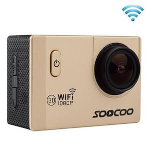 SOOCOO C10S HD 1080P NTK96655 2.0 inch LCD scherm WiFi Sports Camcorder met waterdichte behuizing, 170 graden groothoeklens, 30m waterdicht(Goud)