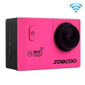 SOOCOO C10S HD 1080P NTK96655 2.0 inch LCD scherm WiFi Sports Camcorder met waterdichte behuizing, 170 graden groothoeklens, 30m waterdicht(hard roze)