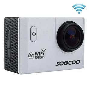 SOOCOO C10S HD 1080P NTK96655 2.0 inch LCD scherm WiFi Sports Camcorder met waterdichte behuizing, 170 graden groothoeklens, 30m waterdicht(zilver)