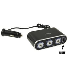 In de auto USB & Triple Sockets met schakelaar voor GPS / GSM / PDA