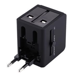 Steek Adapter  Universal ons / EU / UK / AU Power verbinding adapter met 2 USB-poorten  CE/FCC/BvGS-Certificated(Black)