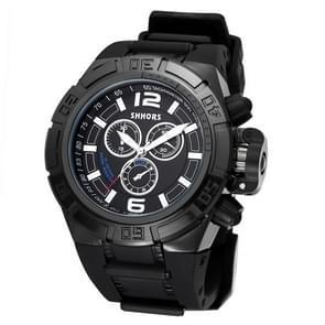 SHHORS grote Dial 3 kleine decoratie Dial mode mannen Quartz horloge met siliconen Band(Black)