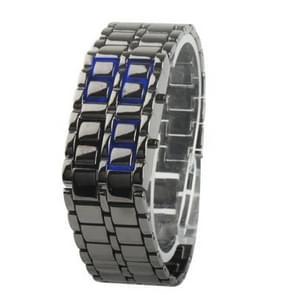 Iron Samurai - Japanese Inspired Blue LED Watch (Silver Gray)(Grey)
