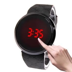 Touch scherm Unisex LED Digital horloge horloge Timepiece Silicon Strap (zwart)
