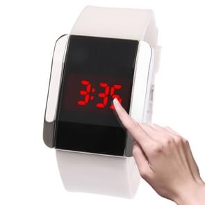 Fashionable Red LED Digital Bangle Wrist Watch & Rubber Strap for both Male and Female(White)