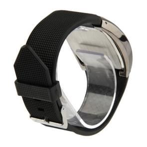 Blauw licht LED horloge met zwarte siliconen horlogeband (zwart Frame)