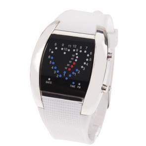 Sport blauw & rood licht LED Digital horloge / horloge-uurwerk met datum (wit)