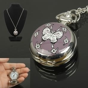 Classical Butterfly Style Quartz Pocket Watch with Hanging Neck Chain & Mirror
