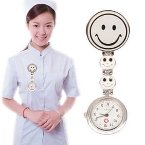 Glimlach stijl Portable legering verpleegkundige ronde Quartz horloge horloge met Pin(White)