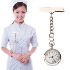 Draagbare legering verpleegkundige ronde quartz polshorloge horloge met pin (zilver)