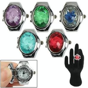 Mini vinger Ring Design Quartz horloge met Jewel Cover & rekbare Band (willekeurige kleur levering)