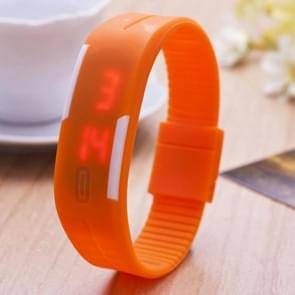 SHHORS 10ATM waterdicht Fashion gebogen oppervlak LED rood licht datum functie Unisex digitaal horloge met siliconen Band(Orange)