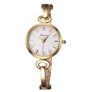 Kimio 3791 Fashionable Quartz Watch Wrist Watch Dress Watch Chain Watch with Alloy Band & Alloy Case & Bracelet Clasp for Women(Golden Band + White Dial)