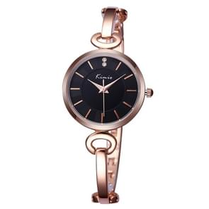 Kimio 3791 Fashionable Quartz Watch Wrist Watch Dress Watch Chain Watch with Alloy Band & Alloy Case & Bracelet Clasp for Women(Gose Gold Band + Black Dial)