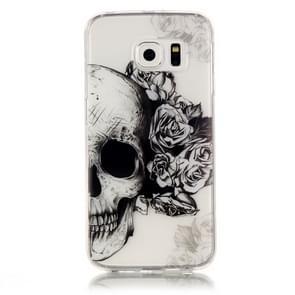 Samsung Galaxy S6 Edge / G925 Glossy zwart wit doodskop patroon TPU back cover Hoesje