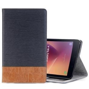 Voor Galaxy Tab een 8.0 (2017) / T385 Kruis textuur horizontale Flip Case Cover met kaartsleuven & houder & portemonnee (marineblauw)