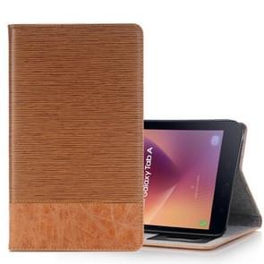 Voor Galaxy Tab een 8.0 (2017) / T385 Kruis textuur horizontale Flip Case Cover met kaartsleuven & houder & portemonnee (bruin)