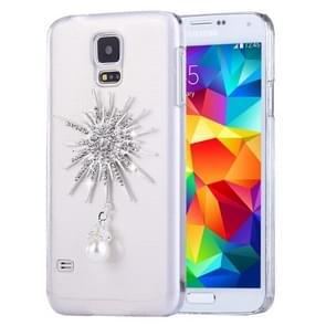 Fevelove voor Galaxy S5 / G900 diamant ingelegde zonnebloem parel Bell patroon PC beschermende Case achtercover