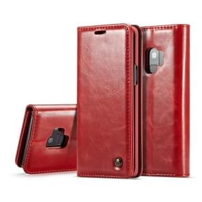 CaseMe-003 voor Galaxy S9 PU + PC Business Style Crazy Horse textuur horizontaal flip lederen draagtas met houder & kaartsleuven & Wallet(Red)