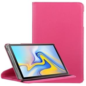 Litchi Texture Horizontal Flip 360 Degrees Rotation Leather Case for Samsung Galaxy Tab A 10.5 T590  with Holder(Rose Red)